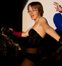 Queerios! Cast Member Jessica Fly as Rocky Horror at The Rocky Horror Picture Show - Austin, Texas