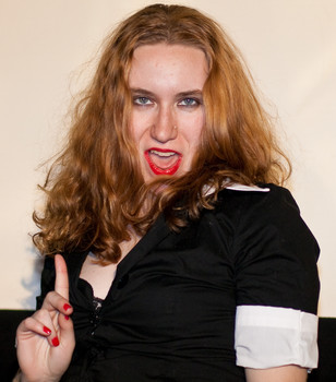 """Queerios! Cast Member Brittany (""""Bucket"""") T. at The Rocky Horror Picture Show - Austin, Texas"""