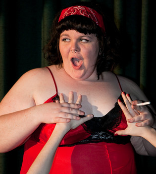 "Queerios! Cast Member Mandy (""Velma"") Tucker at The Rocky Horror Picture Show - Austin, Texas"