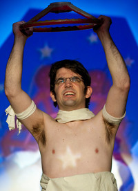 Queerios! Cast Member Brandon Cornell as Rocky Horror at The Rocky Horror Picture Show - Austin, Texas