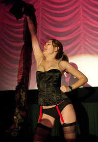 "Queerios! Cast Member Kirsten (""Kiera"") DeHart as Brad Majors at The Rocky Horror Picture Show - Austin, Texas"