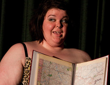 """Queerios! Cast Member Mandy (""""Velma"""") Tucker as Criminologist at The Rocky Horror Picture Show - Austin, Texas"""