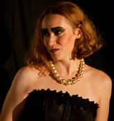 """Queerios! Cast Member Brittany (""""Bucket"""") T. as Dr. Frank-N-Furter at The Rocky Horror Picture Show - Austin, Texas"""