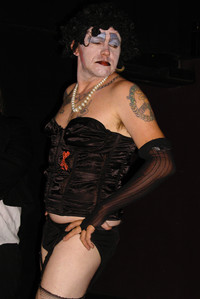 Queerios! Cast Member Rev. James Laljer as Dr. Frank-N-Furter at The Rocky Horror Picture Show - Austin, Texas