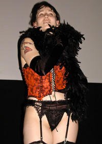 """Queerios! Cast Member Kristian (""""Angel"""") L. as Dr. Frank-N-Furter at The Rocky Horror Picture Show - Austin, Texas"""