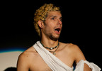 """Queerios! Cast Member Rob (""""Chibbi"""")  as Rocky Horror at The Rocky Horror Picture Show - Austin, Texas"""