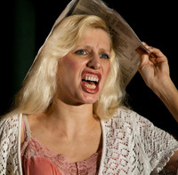 Queerios! Cast Member Dusty Dayn as Janet Weiss at The Rocky Horror Picture Show - Austin, Texas