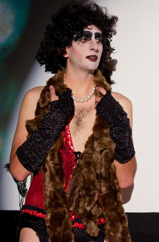 """Queerios! Cast Member Michael (""""Fuzzy"""") Wilson at The Rocky Horror Picture Show - Austin, Texas"""