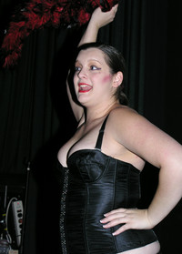 Queerios! Cast Member Sarah Wilk as Columbia at The Rocky Horror Picture Show - Austin, Texas