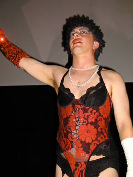 """Queerios! Cast Member Mike (""""Kilroi"""") Betsill at The Rocky Horror Picture Show - Austin, Texas"""